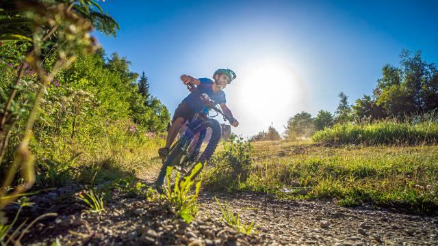 Virage en vélo en été avec le soleil