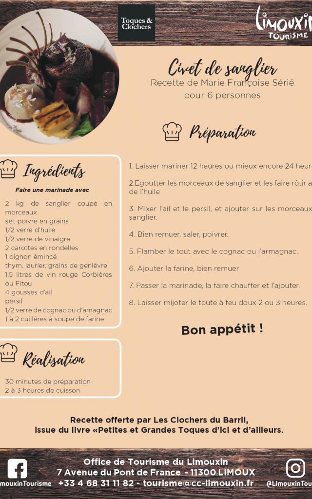 Ot Du Limouxin Fiche Recette Civet De Sanglier 2019