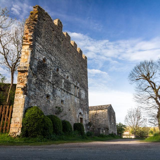 Vestiges du château à Aujols