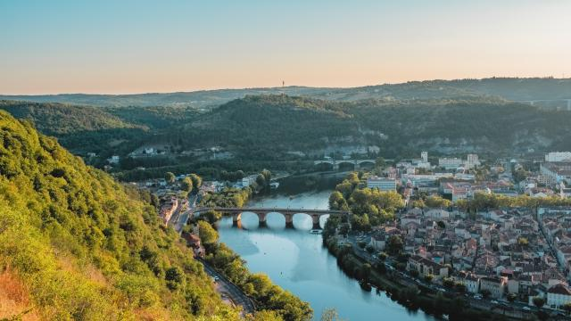 Vue sur Cahors depuis le Mont Saint Cyr