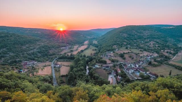 Lever du soleil sur Espagnac-Ste-Eulalie