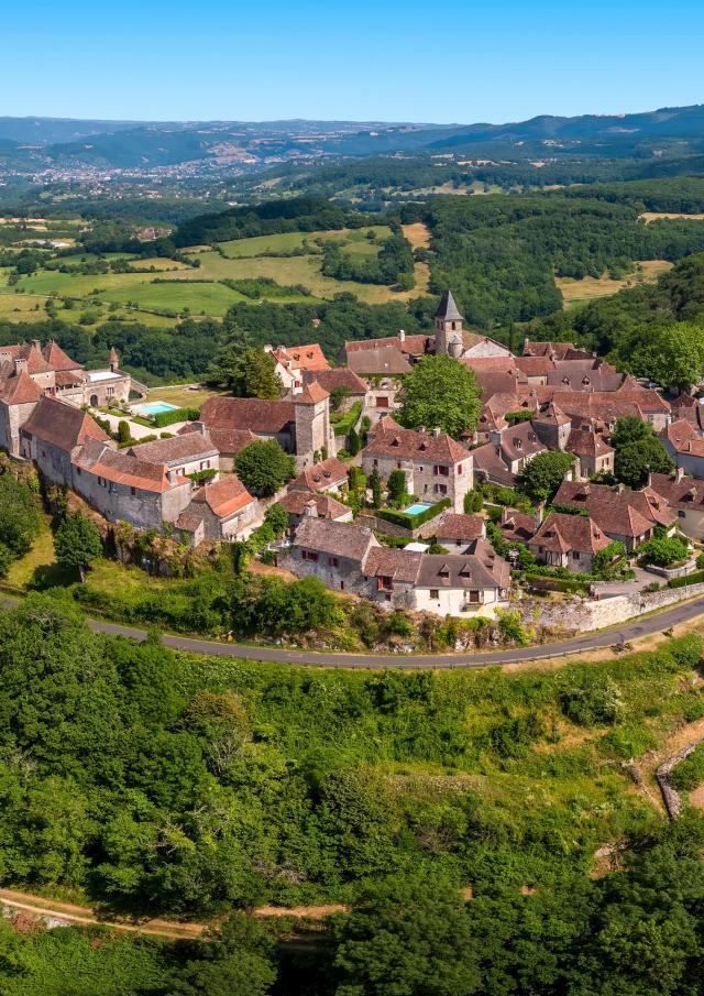 Vue aérienne de Loubressac