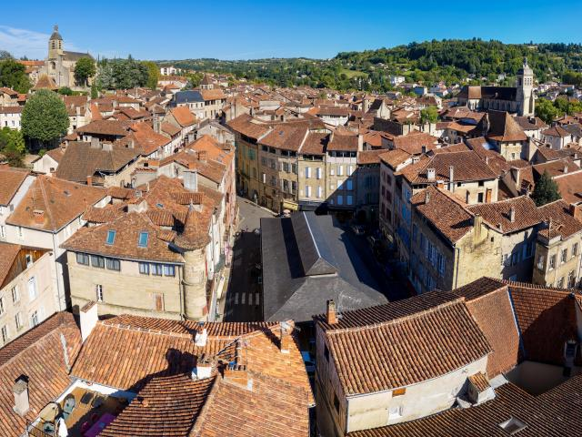 Vue aérienne de la Halle de Figeac