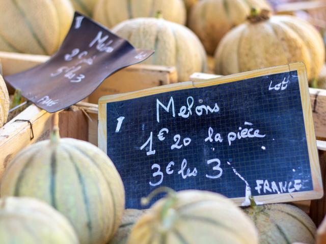 Melons du Quercy sur le marché de Cahors