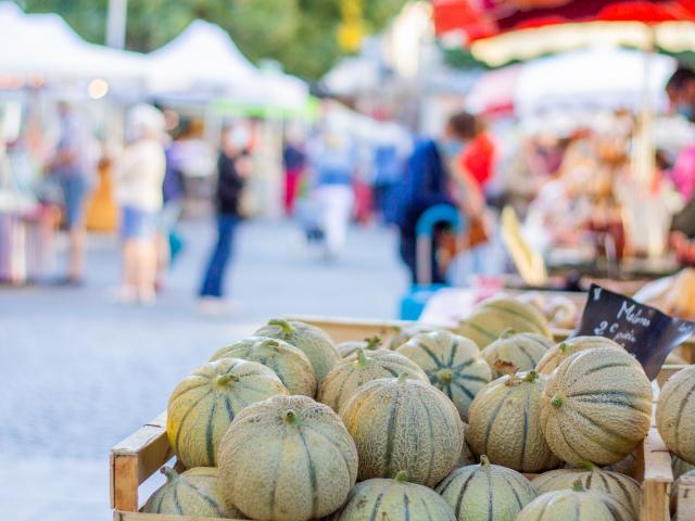 Melons sur le marché de Cahors