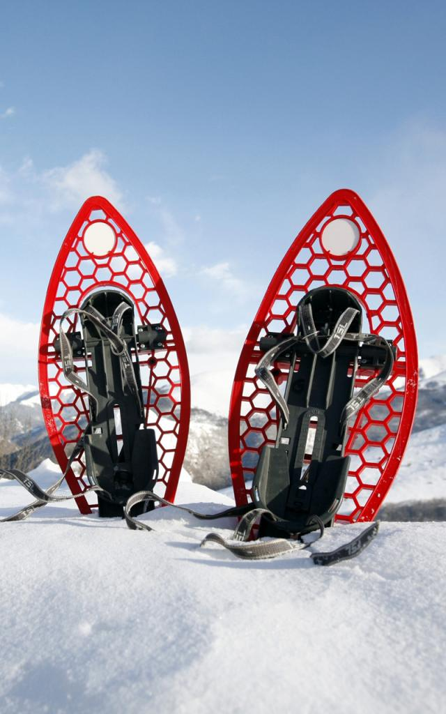 Raquettes à neige plantées dans la neige