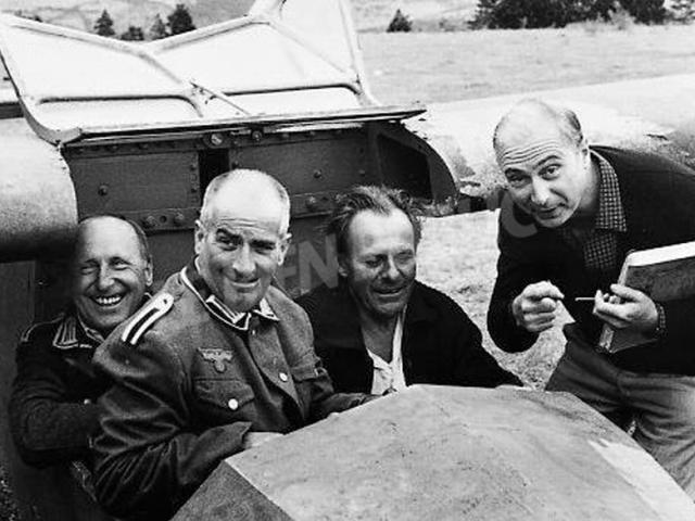 Bourvil, De Funes, Terry Thomas et Gérard Oury - tournage de la Grande Vadrouille