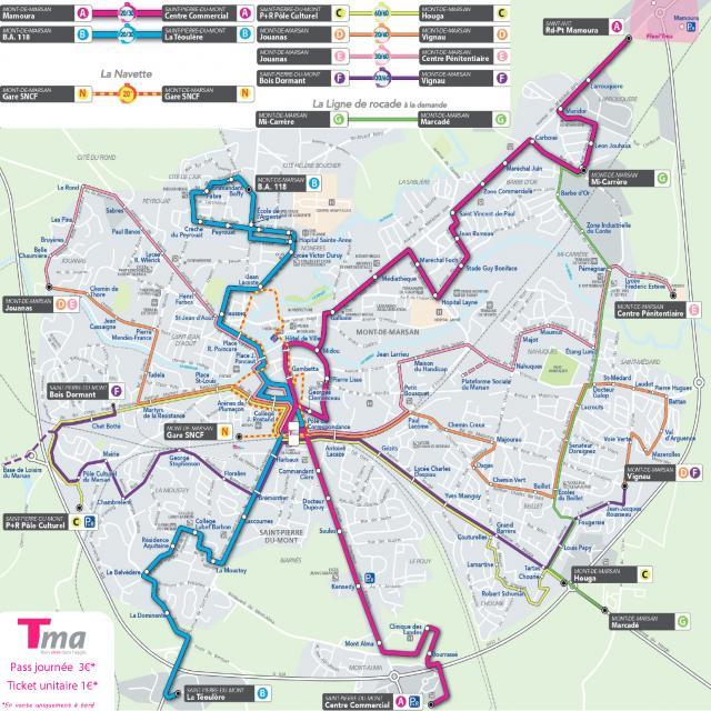 Circuit des lignes de bus à Mont de Marsan