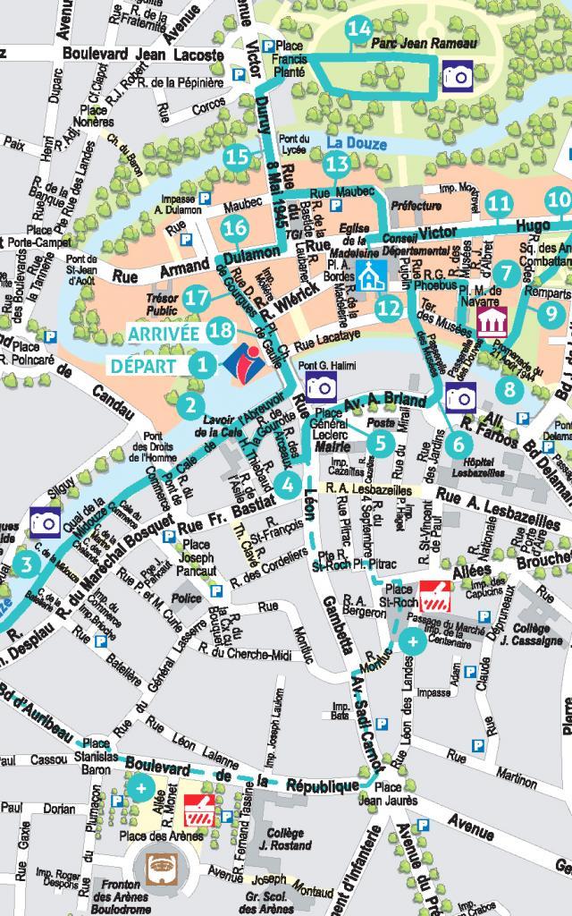 Plan de visite au centre-ville de Mont de Marsan