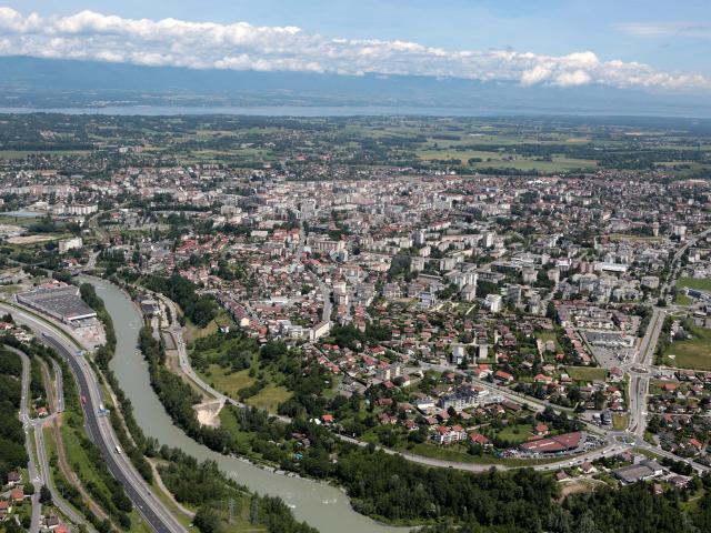 Photo aérienne d'Annemasse.