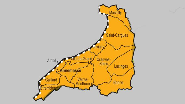 Plan des communes d'Annemasse Agglo