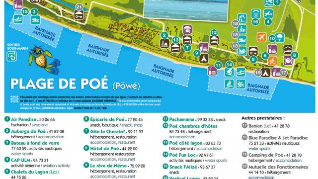 Carte de la plage de Poé