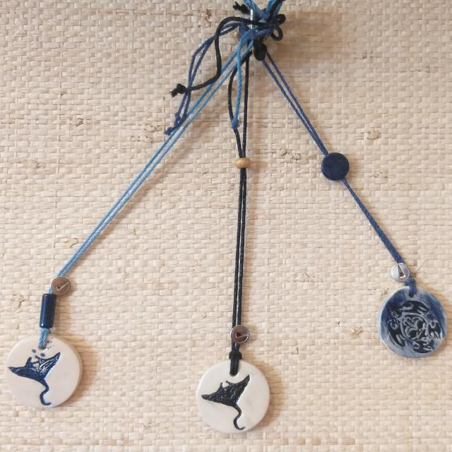Collier En Céramique Empreinte Nautile Tortue Raie