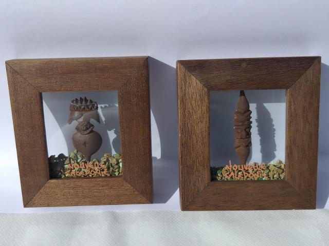 Tableau Miniature Garnierite Avec Sujet Céramique Format 9x10 cm