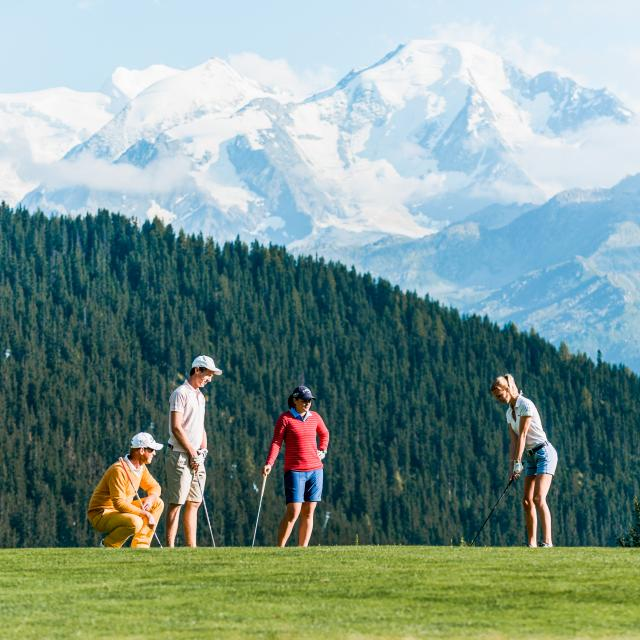 Golf des Esserts in Verbier with breathtaking views of the Combins massif