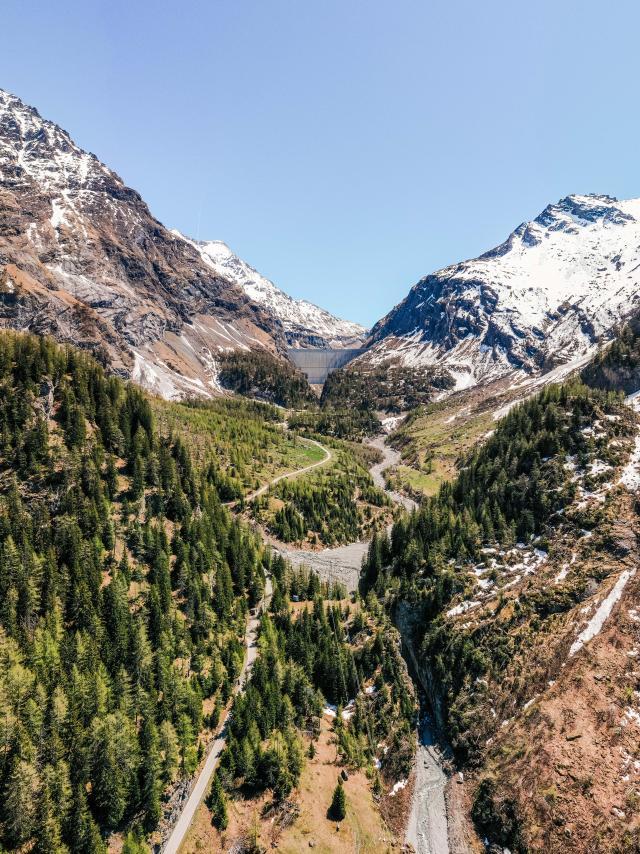 Vue aérienne du Haut Val de Bagnes