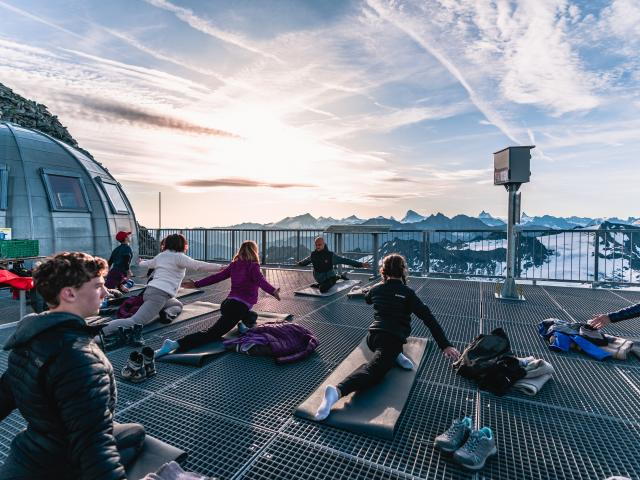 Yoga class at the top of Mont-Fort at sunrise