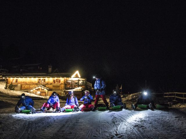 Night sledging at the high-altitude restaurant Chez Dany