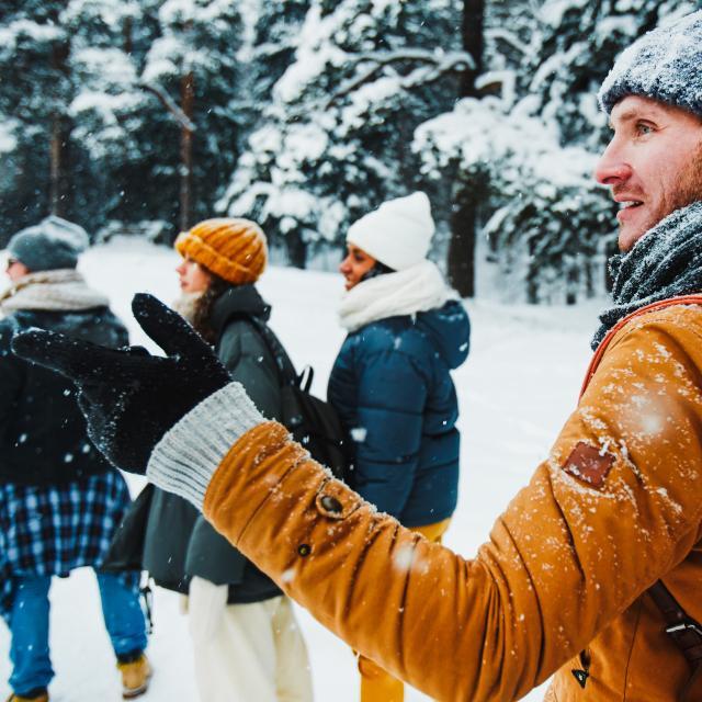 Randonnée pédestre dans la neige
