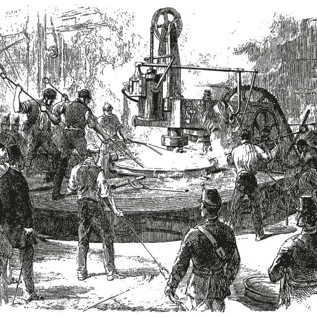 Vintage engraving style vector illustration of an industrial scene, laborers and soldiers around iron casting machinery