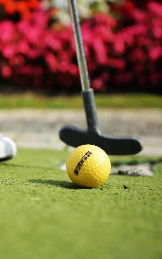 Bagnoles Orne Mini Golf Famille Jouer Casino Lac Gros Plan Trou