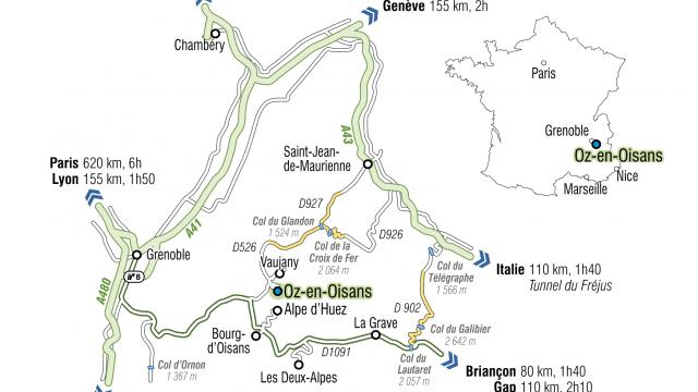 Carte Routiere Accès à Oz En Oisans 2
