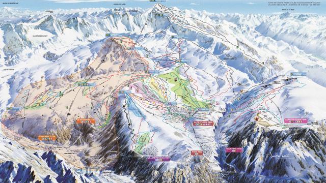 Plan des pistes de ski de l'Alpe d'Huez Grand Domaine