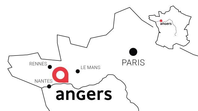 Carte de situation d'Angers en France