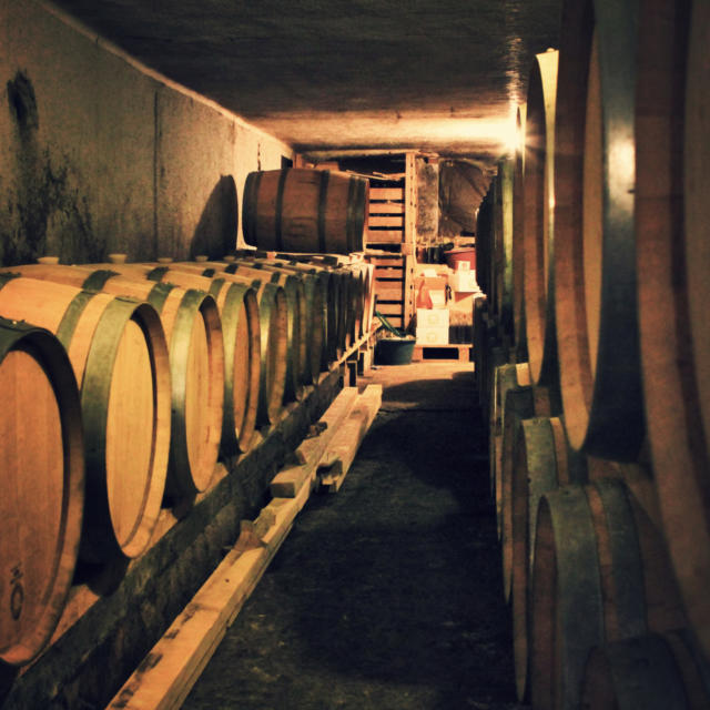 Tonneaux de vin du Clos Guirouilh à Lasseube dans une cave