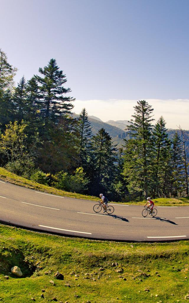 Deux cyclistes montent le col de la Pierre Saint Martin