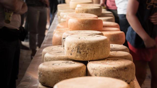 Présentation des fromages posés sur des tables lors de la fête des bergers à Aramits