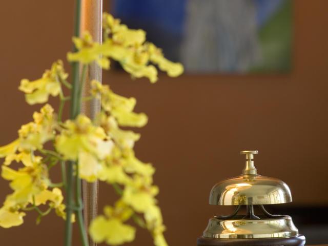 Reception de l'Alysson hôtel, avec bouquet de fleur et sonnette