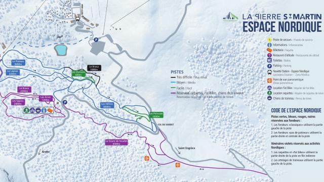 Plano de las pistas espacio nórdico de La Pierre Saint Martin