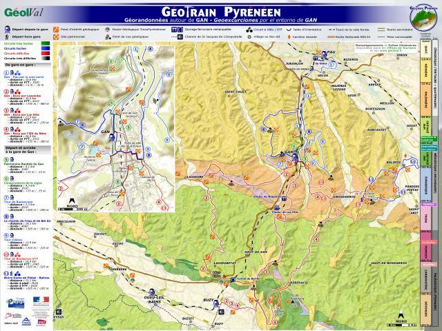 Géotrain pyrénéen : Panneau itinéraire Gan (Béarn - Pyrénées)