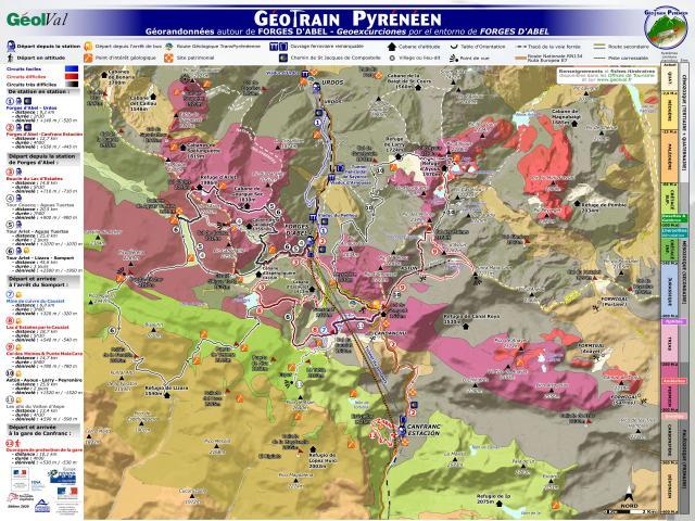 Géotrain pyrénéen : Panneau itinéraire Forges d'Abel (Aspe-Pyrénées béarnaises)