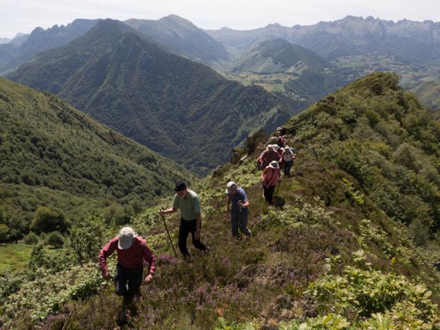 Les géo randonneurs sur la crête (Aspe-Pyrénées béarnaises)