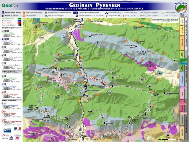Géotrain pyrénéen : Panneau itinéraire Sarrance (Aspe-Pyrénées béarnaises)