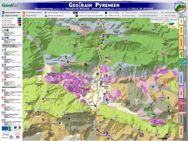 Géotrain pyrénéen : Panneau itinéraire Bedous (Aspe-Pyrénées béarnaises)