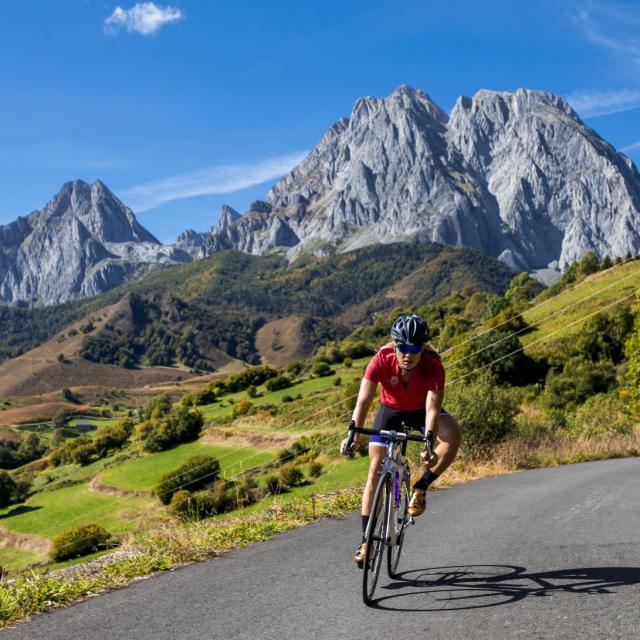 Tels les champions du Tour de France, Camille Deligny en pleine ascension à Lescun (vallée d'Aspe)