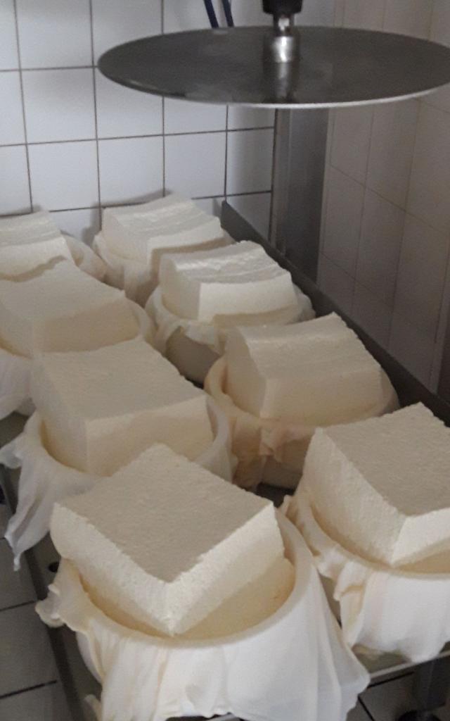 Les fromages sont mis sous presse