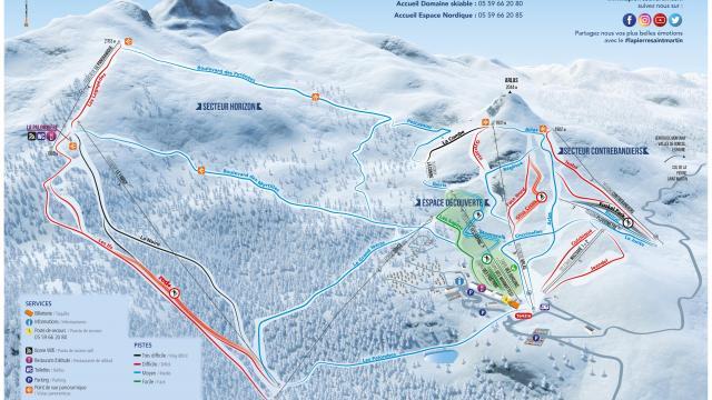 Plan des pistes 2021 station de La Pierre Saint-Martin (Pyrénées béarnaises)