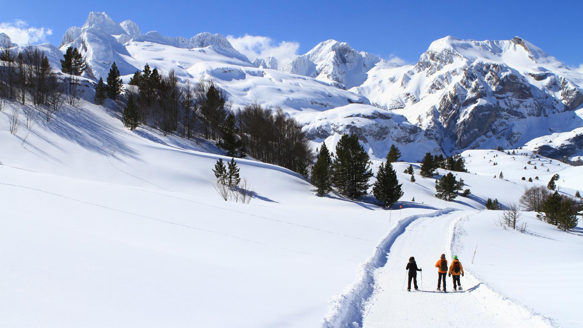 Paseo con raquetas de nieve con paisaje de montaña en la estacion de Somport