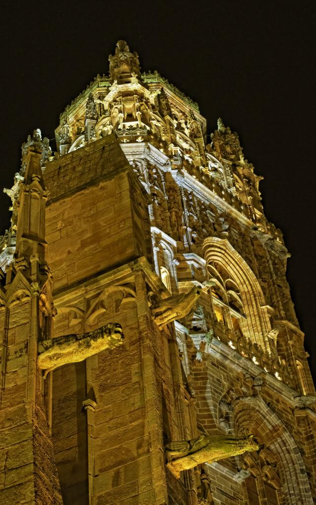 Vue du Clocher de la cathédrale de Rodez de nuit