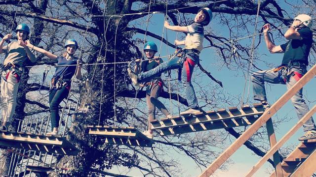 Groupe dans les arbres de Combelles