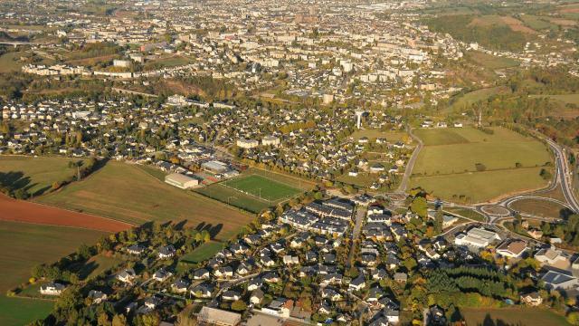 Vue aérienne d'Olemps et Rodez