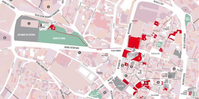 Plan du centre-ville de Rodez