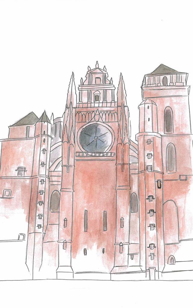 Dessin de la façade de la cathédrale