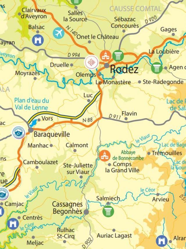 Carte touristique de l'Aveyron