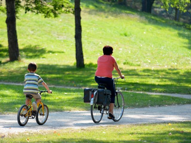 Vélo au parc paysager