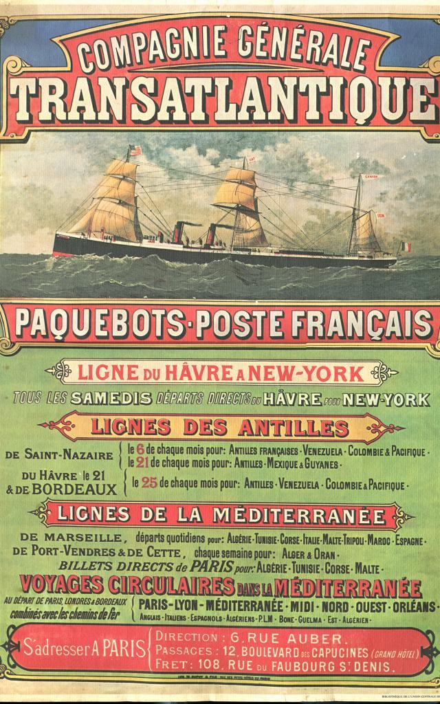Affiche Compagnie Générale Transatlantique©collection Saint Nazaire Agglomération Tourisme